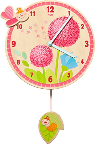 HABA 302507 - Wanduhr Pusteblumentraum, allerliebste Wanduhr für Mädchen, Kinderuhr mit Ø 25cm für die Wand aus Sperrholz, Lernuhr-Funktion dank Zifferblatt mit Minuten, fürs Kinderzimmer