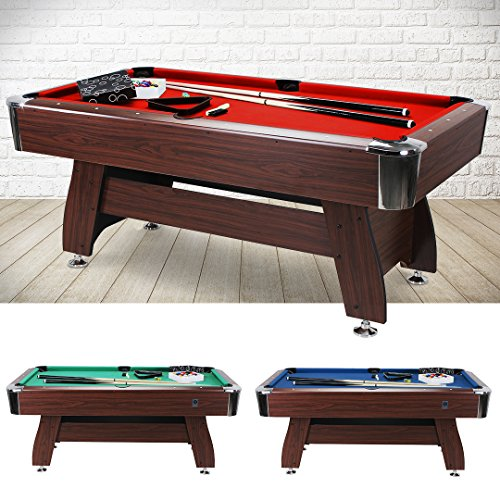Billard Tisch 6 Fuß FT Billardtisch Pool Table Snookertable Billardtable 183x91 Snookertable Multifunktion (Korpus: Braun, Tuchfarbe: Rot)