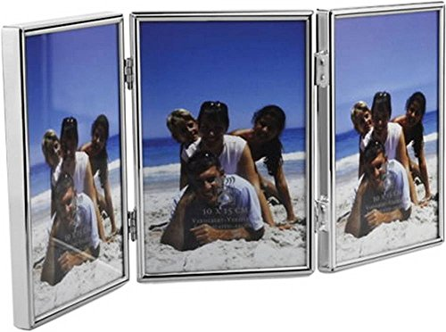 Silver Plated Triple Folding Photo Frame 4x6 By David Van Hagen