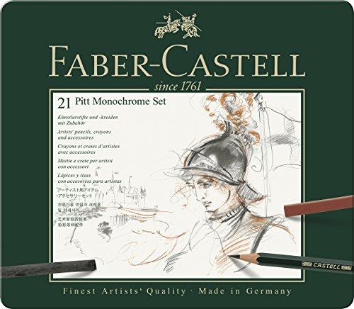 Faber-Castell 112976 - Pitt Monochrome Set im Metalletui, medium, 21-teilig