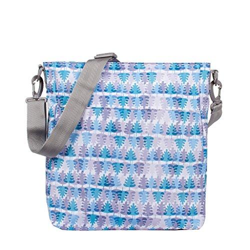 Kiwisac Trendy Taiga Bolso para Carro de Bebé Universal Diseño Original de Hojas en Azul y Gris Bolso Organizador con Cambiador, Bandolera Ajustable y Cintas de Sujeción 36x11x32 cm