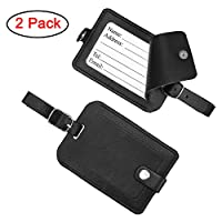 Luggage Tags, Galopar Leather Suitcase ID Tags Travel Luggage Baggage Handbag Tag Labels Travel Accessories ( Black-2 Pack)