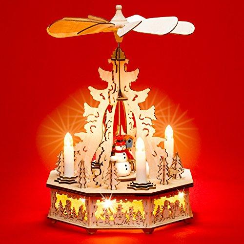 Sikora P31 LED Holz Weihnachtspyramide mit elektrischem Antrieb und Beleuchteten Kerzen und Sockel H: 32,5 cm, Farbe/Modell:Motiv Winterkind mit Schneemann