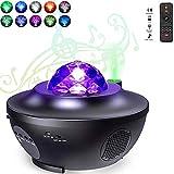 Ancocs LED nattlampa stjärnhimmel för spädbarn och barn med musik roterande planetarium projektor Galaxy Bliss med 10 ljuslägen Bluetooth ljudtimer och fjärrkontroll skylite Wave projektorlampa