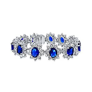 Bling Jewelry Simulated Sapphire CZ Crown Tennis Bracelet Rhodium Plated