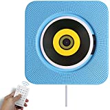 LULAPAR Bluetooth CD Player Speaker Wall Mountable Portable Home Audio Boombox With Remote Control FM Radio Built-in HiFi Speakers USB MP3 Headphone Jack AUX Input Output Blue
