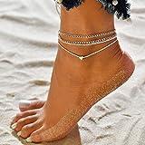 Jovono Boemia semplice bracciali argento cavigliere Ciondolo cuore multistrato argento cavigliera catena piede catena per donne e ragazze