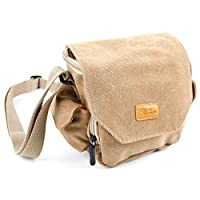 DURAGADGET Light Brown Medium Sized Carry Bag - Suitable for DSLR/SLR/Micro Four Thirds/Compact/Action Cameras - With Customizable Interior Storage Compartment (Dimensions: 140 x 140 x 70mm)