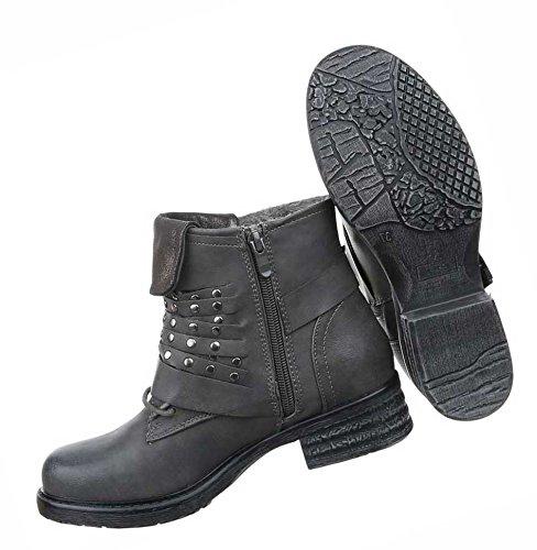 473dfe5720ee26 Damen Boots Schuhe Gefütterte Stiefeletten Mit Nieten Schwarz Braun Beige  Grau Rot 36 37 38 39 ...