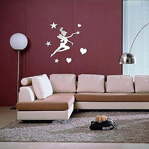 Bluelover BRICOLAGE miroir acrylique de fée étoiles coeur mural stickers décoration art