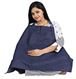 #10: Lula Mom Nursing / Feeding Cover - Breathable Cotton Breastfeeding Apron – Navy dot Design - Baby Feeding Cover …
