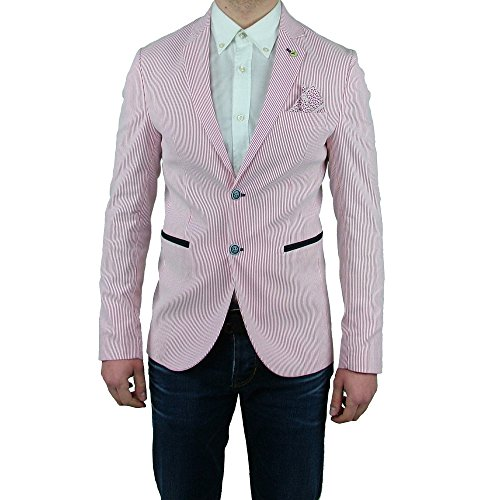 d43f5532ceb26 Giacca sartoriale Estiva Uomo Slim Fit Vincent Trade rossa righi bianchi  Casual Elegante Made In Italy