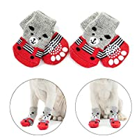 Hcpet Anti-Slip Dog Socks for Indoor Wear, Paw Protection for Dogs (M, Red)