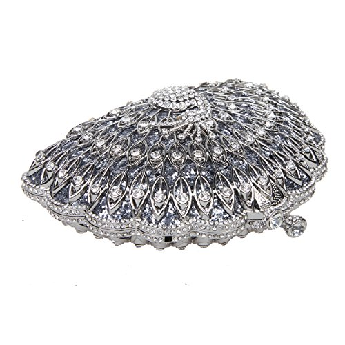 Bonjanvye Metallic Gorgeous Peacock Purse Animal Shape Evening Clutch Bag Gray gray