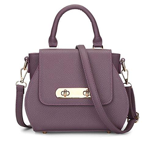 HQYSS Damen-handtaschen Frauen PU-lederner wasserdichter Schulter-Kurier-Handtaschen-justierbare einfache wilde Tote-Beutel gray purple