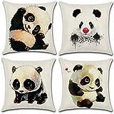 Soleebee 4er-Set Baumwolle Leinen Kissenbezug Auto Kissenbezüge Kissenhülle Dekorativ Set Kissen Fall für Sofa Schlafzimmer, 45 x 45 cm (Panda)