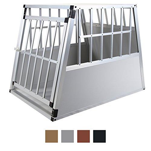 Hund Großen Bett Harten (Jalano Hundetransportbox XL Auto Gitterbox große Hunde Alu Hundebox Kofferraum, Farbe:grau)