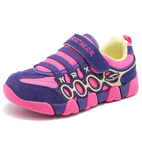 XIAO LONG Hallenschuhe Mädchen Turnschuhe Sportschuhe Jungen Kinder Klettverschluss Laufschuhe Atmungsaktiv Kinderschuhe Sneaker für Sommer Outdoor Rose 37