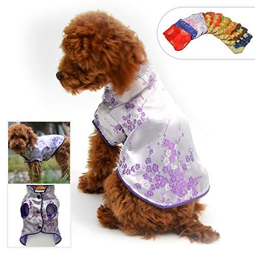 Lovelonglong 2019 Hundekostüme Cheongsam Qipao Kleider für kleine Hunde Katzen Haustiere Tang Dynastie Kostüm, XL (for small Dog), violett