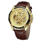 Forsining pour homme Squelette montre mécanique automatique Reloj Movtment mâle Horloge avec sangle de cuir véritable
