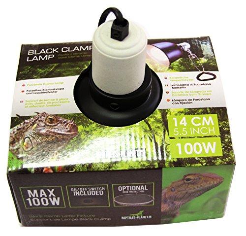Reptiles Planet iluminación soporte de lámpara con reflector Black Clamp 14D14x H 16cm