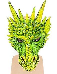 The Rubber Plantation TM 619219303866 - Máscara de látex para disfraz de Halloween, diseño de dragón verde, con correa elástica, unisex adulto, talla única