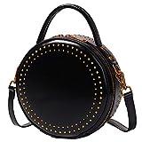 Bolso Redondo pequeño de Cuero para Mujer Bolso Cruzado de Cuero con Bandolera Retro con Tachuelas (Color : Negro, Tamaño : 20 * 20 * 8 cm)