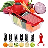6 in 1 Mandolin Slicer, Multi-Function Fruit and Veg Cutter, Interchangeable Stainless Steel Blade with Food Container, Peeler, Hand Protector, Julienne Slice for Potato Tomato Onion Vegetable