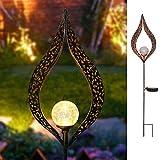 Garten-Solarleuchten im, Metall Mond LED Crackle Glas Globe dem Spiel Dekorative Lichter für Terrasse, Weg, Hof, lawn-dusk Sensor mit 6Stunden Timer, metall glas, JTM-Heart 1.20volts