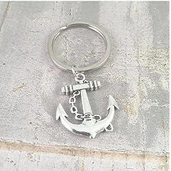 Llavero con diseño de ancla, llavero de ancla de plata, estilo náutico, regalo para papá, llavero de yates, regalo para él, marinero, navegante