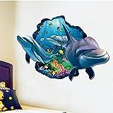 QTXINGMU Undewater Sea Dolphin Fische Durch Die Wand Aufkleber Für Kinder Zimmer Einrichtung 3D-Effekt Tier Wand Aufkleber PVC Poster Wandmalerei Kunst