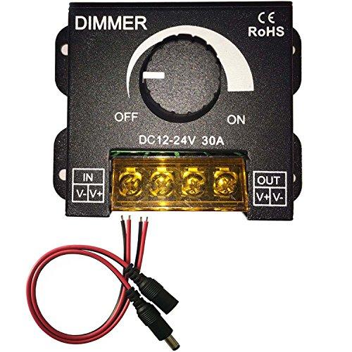 KaBenjee PWM 0~100% LED Dimmerschalter Drehknopf EIN/AUS Schalter mit schwarzem Aluminiumgehäuse,Max 30A Dimmen für 5050 3528 2835 5630 LED Streifen Beleuchtung,LED Band Dimmer Controller - 12v Dimmer