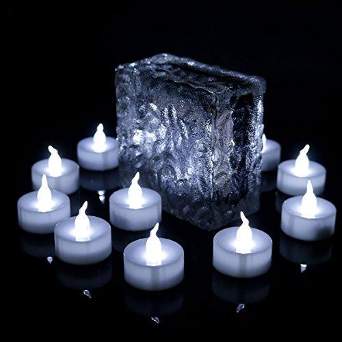 Advocator 12pcs Kühles Weiß flammenlose geführte Kerzen, flackern batteriebetriebene Kerzen für Hochzeitsfest-Geburtstag
