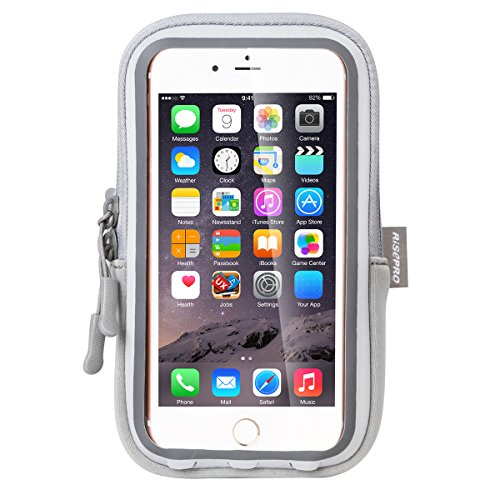iPhone 7 Plus Armband, risepro® Wasserdicht Fall Dry Bag Touchscreen Tasche für Joggen Outdoor Sport Klettern mit für iPhone 7, 6S Plus, 6S, 6, 5, Samsung, Google Smart Handy (grau) (Kommen Sie Und Nehmen Sie Es Handy-fall)