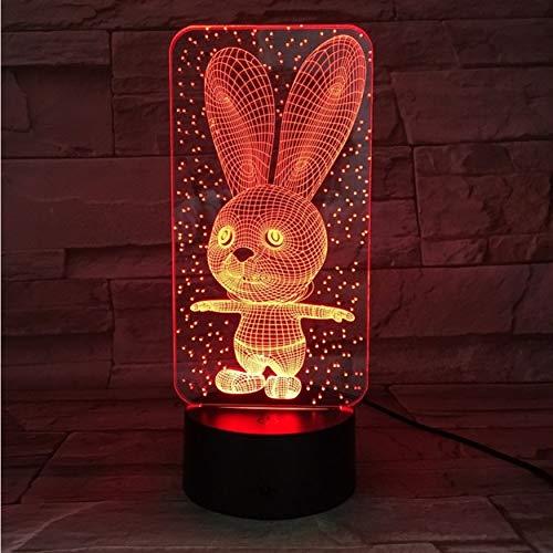 Bebé Dormitorio Lámparas Luz de la noche Conejo de la historieta Plástico Durmiendo Led Niño Lámpara Bulbo Luz de noche para niños con 7 colores Cambio