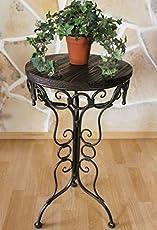 DanDiBo Tisch Beistelltisch 68 cm aus Metall mit Holzplatte HX12588 Blumenständer