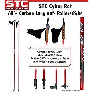 STC Cyber 60% Carbon Langlaufstock Skating Roller Stöcke Rollski Skiroller Stöcke Skike 160 cm