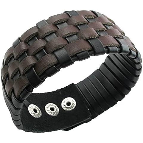 Uomo braccialetto del braccialetto polsino largamente Wrap polso intrecciato il cavo di cuoio regolabile Marrone Fit 8-9 pollici di AieniD