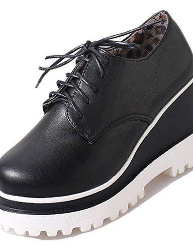 WSS 2016 Chaussures Femme-Décontracté-Noir / Blanc-Talon Compensé-Compensées-Chaussures à Talons-Polyuréthane black-us6 / eu36 / uk4 / cn36