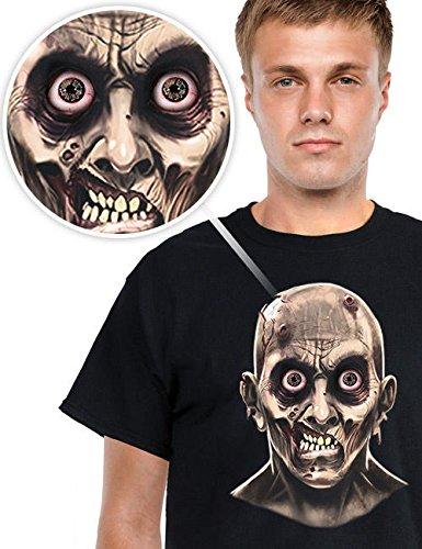 Digital Dudz Halloween T-Shirt bewegliche Occhi Nero Grigio, Medium