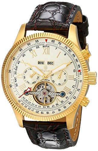 Burgmeister Armbanduhr für Herren mit Analog Anzeige, Automatik-Uhr und Lederarmband - Wasserdichte Herrenuhr mit zeitlosem, schickem Design - klassische Uhr für Männer - BM330-275 Malabo