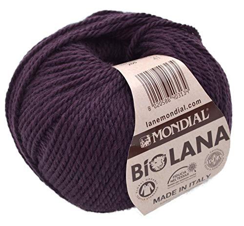 Mondial Wolle BioLana Naturwolle Fb. 205 - aubergine, 50g Organic Wool, Biowolle, 100% Reine Schurwolle zum Stricken und Häkeln