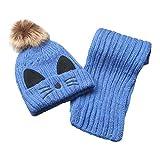 Yoolune Baby Beanie Mütze Strickschal Set Infant Kleinkind Warme Mützen für Jungen Mädchen Neugeborene Kinder Wintermütze mit Pom Pom