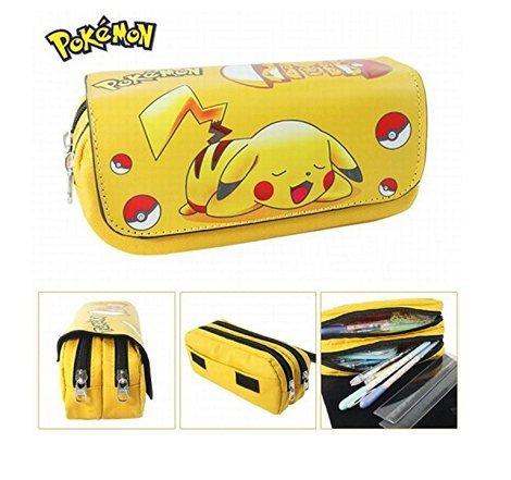 Estuche de Pikachu (Pokemon) para la escuela de PCW,con dos compartimentos