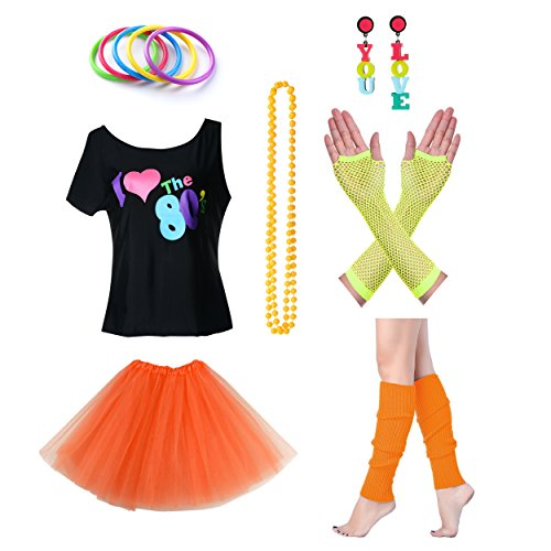 Women's I Love The 80's T-Shirt Outfit - Sizes 12 to 20