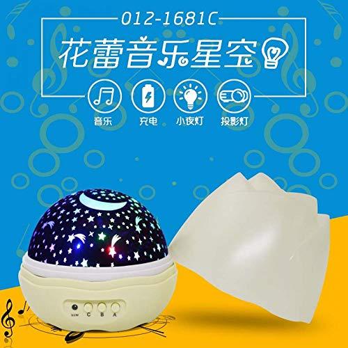 tor projektor lampe,Blumenknospenmusiksternlicht USB, das drehendes Projektionslampenschlafzimmermusiknachtlicht, Gelb auflädt c ()
