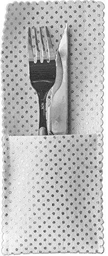 Santex 5538–4, bolsita de 4bolsillos para cubiertos y servilletas, lunares plata