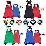 RioRand 4 Costumi da Supereroi per Bambini con 8 Maschera in Feltro, 6 Braccialetti di Schiaffo per Regali di Compleanno Bambini Giocattoli (4-Pack-Double)