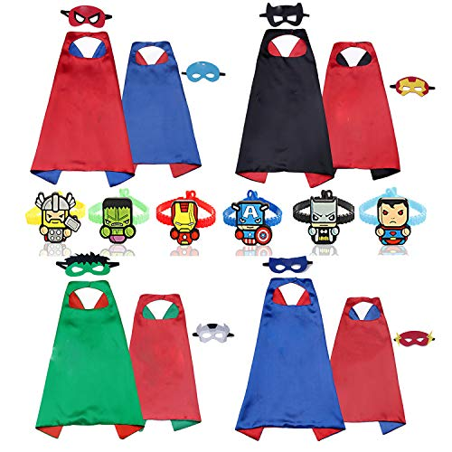 RioRand Superhelden Umhänge Kostüm für Kinder verkleiden Sich 4 Capes mit 8 Maskens and 6 Armbänders
