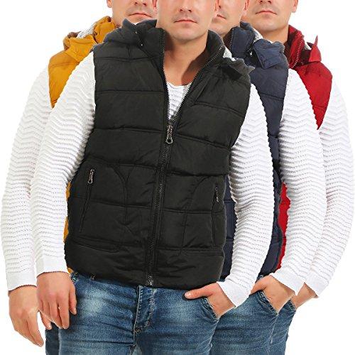 4452 Fashion4Young Herren Weste Steppweste Kapuze Jacke Outdoor Bodywarmer Übergangsjacke Senf